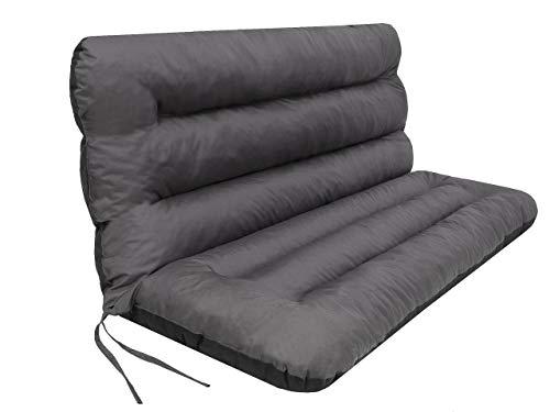 Kissen für Hollywoodschaukel • Gartenbankauflage • Bankauflage • Bankkissen • Sitzkissen und Rückenkissen • Gartenpolster • sitzbreite 180 cm • Grau