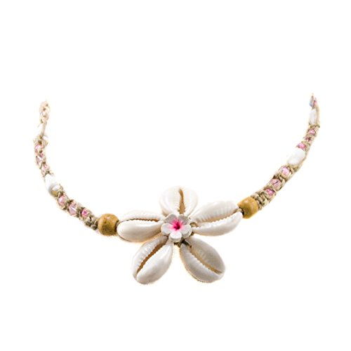 BlueRica Hemp Choker Necklace with Pink Crystal Beads and Cowrie Shells Flower Pendant