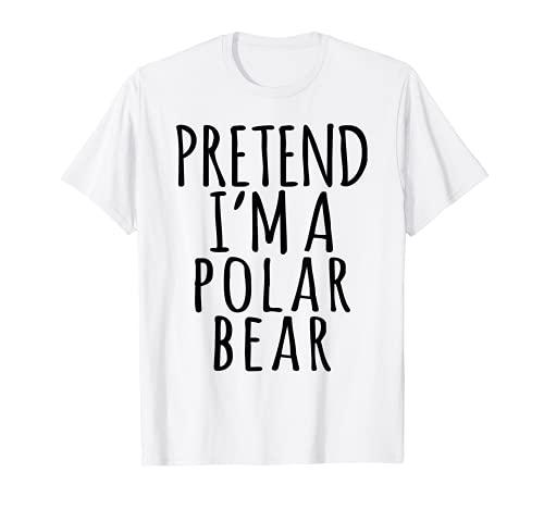 Disfraz de Halloween perezoso - Animal Print Pretend Polar Bear Camiseta