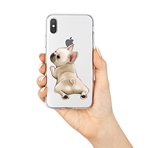 French Bulldog Phone Case Compatible with iPhone X/XS,Soft TPU Silicone Slim Transparent Protective Case for iPhone X/XS,Gift for Women Girls