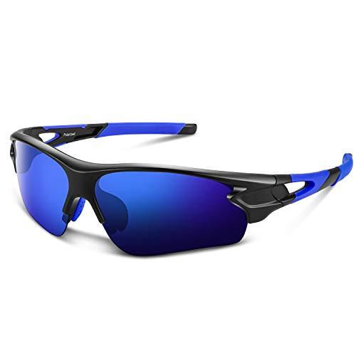 Polarized Sports Sunglasses for Men Women Youth Baseball Fishing Cycling Running Golf Motorcycle Tac Glasses UV400 (Glossy Blue)