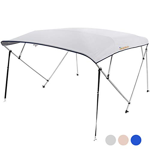 "KING BIRD 4 Bow Bimini Boat Top Cover Sun Shade Boat Canopy Waterproof 1 Inch Stainless Aluminum Frame 54"" Height with Rear Support Poles and Storage Boot (Grey, 67""-72"")"