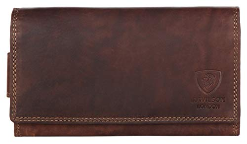 Ladies Designer Luxury Quality Soft Leather RFID Safe Protection Purse Multi Credit Card Women Clutch Wallet with Zip Pocket Phone Holder Gift Boxed (Oiled Brown)