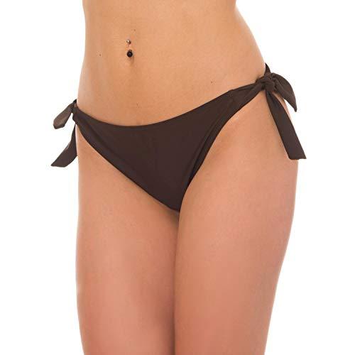 Aquarti Damen Bikinihose seitlich zum Binden Hüftslip, Farbe: Braun, Größe: 42