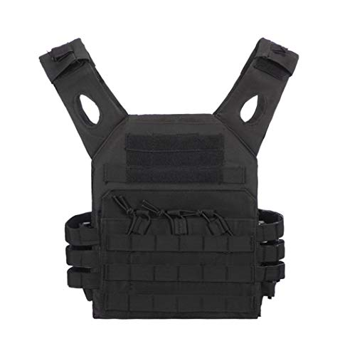 Jipemtra Tactical Airsoft Vest for Kids Outdoor Molle Breathable JPC Vest Game Protective Vest Adjustable Modular Chest Set Vest CS Field Vest Training Vest (Black #1)