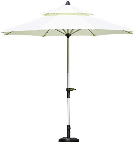 MFLASMF Housewares - Sombrilla de jardín (aluminio, 2,7 m, cubierta de poliéster blanco, tamaño grande, portátil, no incluye