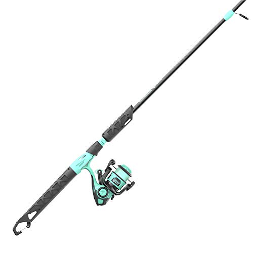 Zebco Kids Rambler Spinning Reel and Fishing Rod Combo, 5-Foot 3-Inch 2-Piece Fishing Pole, Size 20 Reel, Changeable Right- or Left-Hand Retrieve, Pre-Spooled with 8-Pound Cajun Line, Seafoam/Black