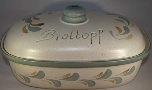 Töpferei Seifert Brottopf Schilf | Brotkasten | Brotbox | Brotdose | Brotbehälter | Steinzeug | LxBxH: 30x21x16 cm