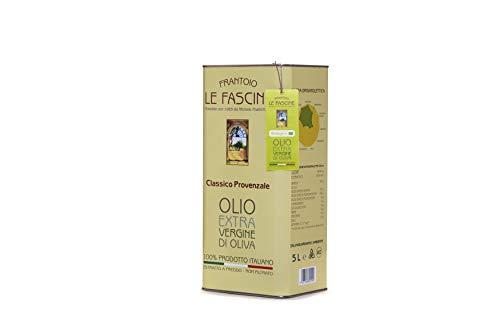 Le Fascine Olio Extravergine d'Oliva Provenzale Biologico 100% Italiano Prodotto da mono cultivar Provenzale ( Peranzane ) (Latta da 5 Litri)