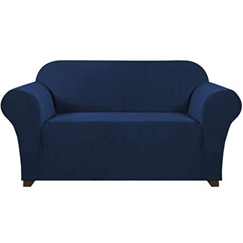 Moderner Spandex 1 Stück Sofabezug für Wohnzimmer High Stretch Lycra Sofa Schonbezug mit elastischer Unterseite Stilvoller Möbelbezug / Schoner maschinenwaschbar (Loveseat 2-Sitzer, Navy)