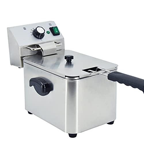 T-CAT Freidora eléctrica con control de la temperatura, recipiente individual totalmente de acero inoxidable para casa y restaurante (4 L 2500 W)