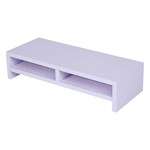 Computer Monitor Riser Desk LED TV Stand Shelf Desktop Laptop Entertainment Center (White)