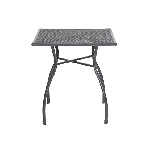 greemotion Gartentisch Toulouse eckig, quadratischer Tisch aus kunststoffummanteltem Stahl, Esstisch mit Niveauregulierung, eisengrau, 70 x 70 x 72 cm - 2