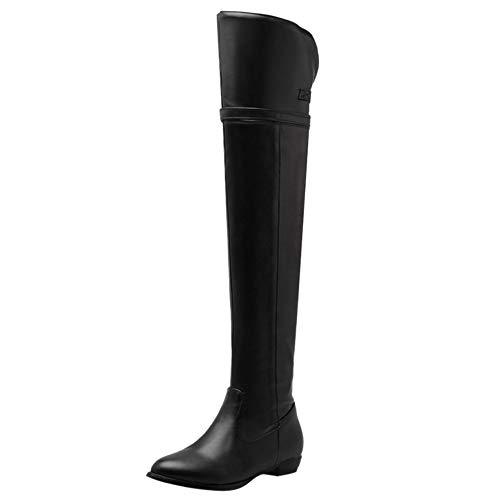 CularAcci Damen Klassischer Flach Over-Knee Stiefel Reißverschluss Mandel Zehe Ritter Stiefel Schnalle Weich Winter Schuhe Black-JiaMao Size 45 Asian