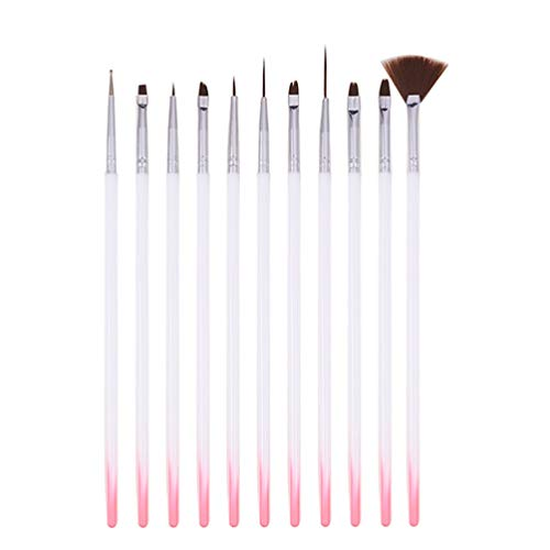 Minkissy 12Pcs Nail Art Brush Set Dotting Painting Drawing Brush Pen Nail Art Gel Brushes Tools Nail Dotting for Short Strokes Details Blending