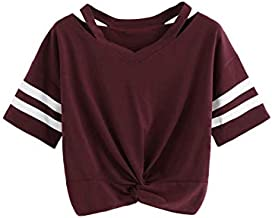 SweatyRocks Women's Twist Front Cut Out Short Sleeve Crop Top T-Shirt (Small, Burgundy)