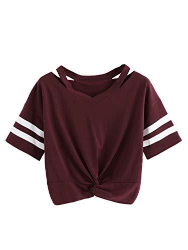 SweatyRocks Women's Short Sleeve Cut Out V Neck Twist Front Crop Top T-Shirt Burgundy Small
