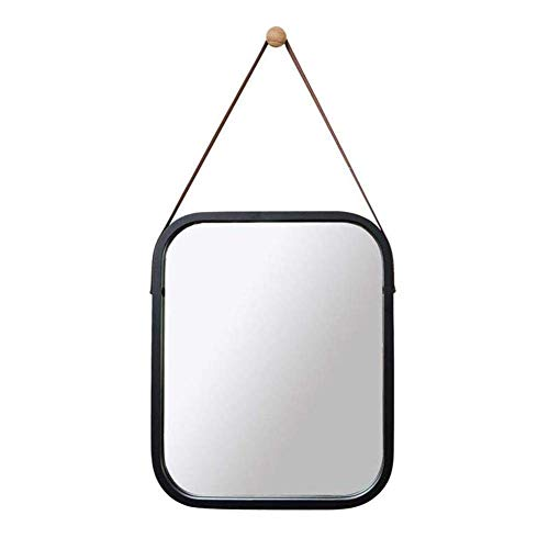 Wall Mounted Makeup Mirror Bamboo Frame Vanity Mirror with Leather Strap,Shaving Mirror Easy Assemble,for Bedroom, Bathroom, Living Room Decor,Black
