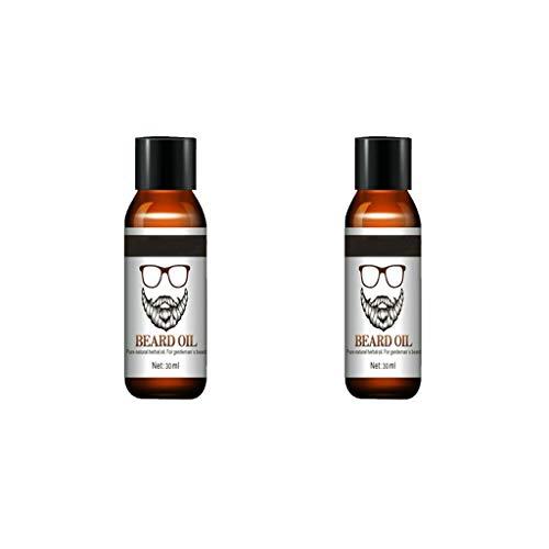 Bartwachstumsöl, Bartöl Bartpflegeprodukte, WYZTLNMA reine natürliche organische Inhaltsstoffe, für Männer Bartschnurrbärte wachsen, erweichen, befeuchten und stärken (2pcs)