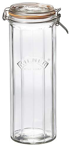 Kilner Facetten-Glas mit Bügelverschluss, 2 Liter Einkochglas, transparent
