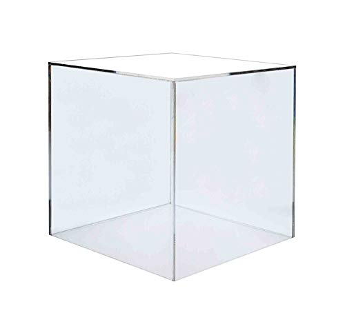 "Marketing Holders Acrylic Jewelry Display Box Cube Toys Trinkets Collectible Items Safety Dust Cover Square 5 Sided Show Case Art Easel Pedestal Display 6""w x 6""h Pack of 1"