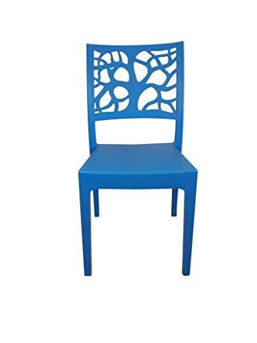 Sedia Teti, in Polipropilene, per Esterno ed Interno, Impilabile, qualità Super, Ordine Minimo 2 Pezzi (Azzurro)