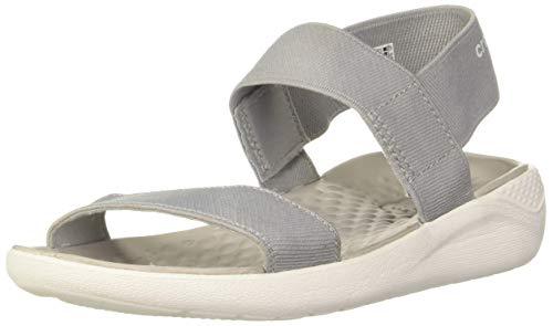 commercial Women's Crocs Lite Ride Flat Sandals, Light Gray / White, 7 M US star bay sandals