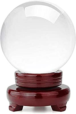 HBlife Clear Crystal Ball 3 Inch (80mm) Including Wooden Stand and Gift Package for Family Decorative Figurine Fortune Telling