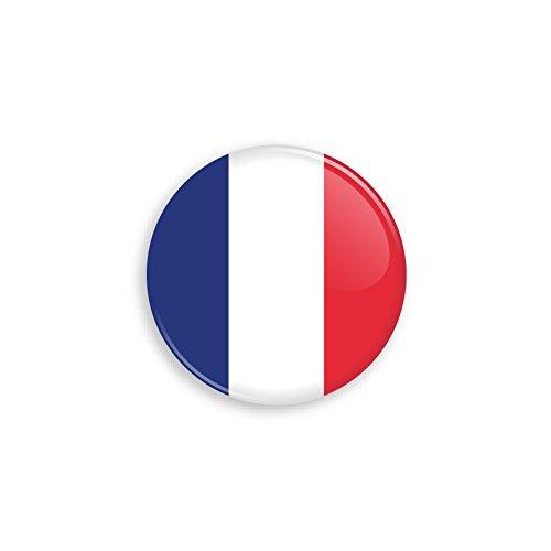 Button mit Frankreich Flagge als Anstecker mit Nadel oder Magnet als Auswahl, 38 mm Durchmesser – Für Fußball WM, Themen Partys und Feiern oder als Geschenk - Nadel