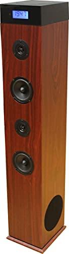 Roadstar TSPK-990CDBT Bluetooth Lautsprecher Tower mit integriertem Subwoofer (CD-Player, USB, FM PLL Radio, Fernbedienung, Holzgehäuse, AUX-In) holzfarben, Schwarz