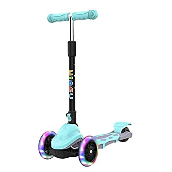 Hiboy Q1 Scooter for Kids - 4 Adjustable Heights 3 Wheels with 2 LED Light-Up Front Wheels Foldable Toddler Scooter for Boys and Girls from 2-6 Years Old