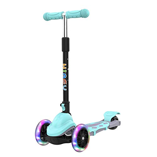 Hiboy Q1 Scooter for Kids - 4 Adjustable Heights, 3 Wheels with 2 LED Light-Up Front Wheels, Foldable Toddler Scooter for Boys and Girls from 2-6 Years Old