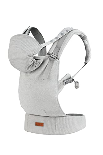 MOMI COLLETE Babytrage ab 3. Lebensmonat, für Babys und Kleinkinder bis max. 20 kg Körpergewicht, mit Kapuze und einer Köpfchenstütze für das Baby, optimale Anpassung mit 6 Einstellpunkten | Gray