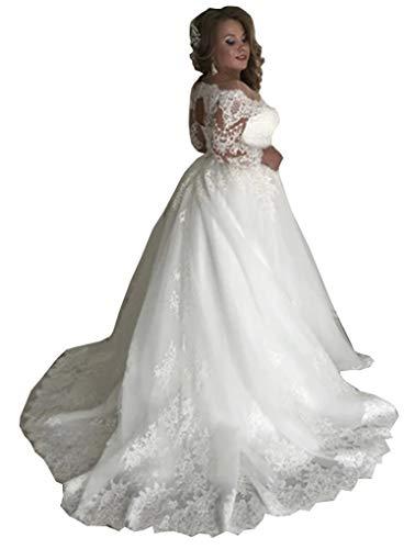 CGown Damen Übergröße Von der Schulter Langarm Schlüsselloch Brautkleid Schleppe Spitze Applikation Ballkleid Hochzeitskleid