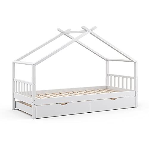 VitaliSpa Kinderbett Design HausbettGästebett Lattenrost90x200 (Weiß)