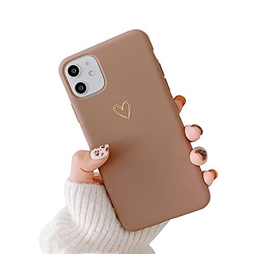 Seafirst Kompatibel mit iPhone 11 Hülle für Herz Muster Weiches Flüssiges Silikon für Frauen Mädchen Slim Stoßfest Schutzhülle für iPhone 11-Brown
