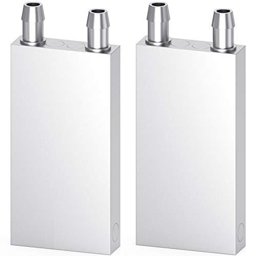 DIYhz Aluminum Water Cooling Block, Liquid Water Cooler Heat Sink System for PC Computer CPU Graphics Radiator Heatsink Endothermic Head Silver 2pcs(40mm x 80mm x 12mm)