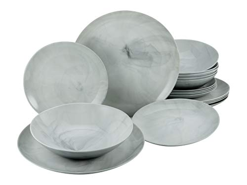 Creatable, 33011, Serie Diwali MARMOR, Geschirrset, Tafelservice 18 teilig, Opalglas