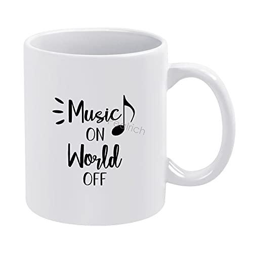 Music on World Off for People Who Love Their Headphones Tazas de café 325 ml, taza de cerámica con asa, café de porcelana, té, cacao, tazas de café espresso, para mañana, Navidad, fiesta