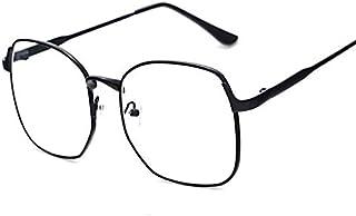 كوريان ستايل نظارات طبية ريترو بتصميم دائري باطار معدن كبير جدا لون اسود بعدسات مسطحة للجنسين