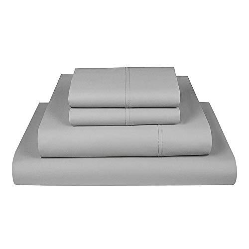 """King 500 TC Cotton Sheet Set Sateen Weave-Luxurious Pure Cotton Ultra-Soft-Extra Deep Pocket with TightFit 1-Inch Elastic-Fits Mattress up to 17"""" from The Village Range (Light Grey , 4 pcs)"""