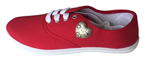 By Johanna Sneakers Damen Canvas Rot Low Top als Trachtenschuhe Freizeit Schuhe mit Herz Pin Vegane 38Damen in Canvas Rot Low Top auch tragbar für Trachten mit Herz Pin Vegan (38)
