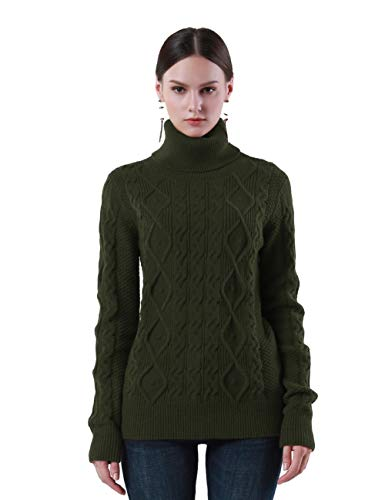 PrettyGuide Women's Turtleneck Sweater Long Sleeve Cable Knit Sweater Pullover Tops XL Army Green