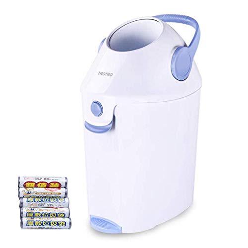 ZTMN Cubeta para pañales Baby Step con Bloqueo de olores, Cubo portátil para pañales ordenado con asa, Bote de Basura Grande Cubo de Basura Materiales ecológicos Azul 36x27.5x54cm (14x11x21inch)