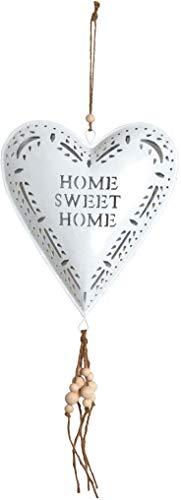 AUBRY GASPARD Coeur Blanc en métal à Suspendre Sweet Home 19 cm