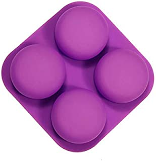 Amos 4 Cavity Round Shape Silicone Molds/Mould for Making Soap Candle 75 Gram Approx (Random Color)