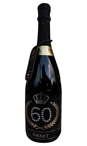 Swart - Idea regalo per compleanno - Bottiglia Tanti Auguri da 0,75L - Etichetta personalizzata con autentici cristalli - spumante Italiano di alta qualità (60 anni)
