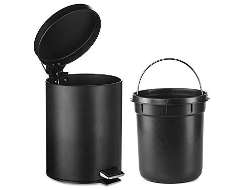 H+LUX Bathroom Trash Can, Round Small Trash Can with Soft Close Lid and Removable Inner Wastebasket, Fingerprint Resistance, 1.3 Gallon/5 Liter, Black