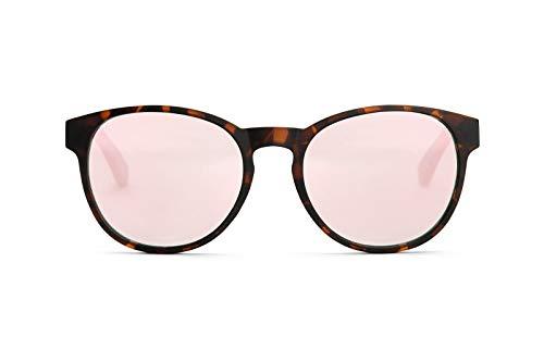 TAKE A SHOT Holz-Sonnenbrille Damen Verspiegelt Groß Runde Gläser, Havana, UV400, Rosa Verspiegelte Sonnenbrille Rund Holz RED QUEEN