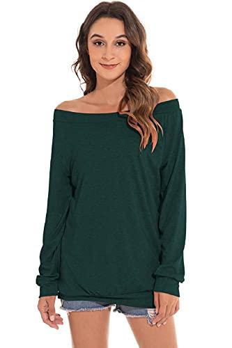 Yuson Girl Casual CamisetasMangaLargaMujer CamisaMujer Fuera del Hombro RopadeMujer Sexy Suelto Mujer Ocasionales Flojas Atractiva Elegante Moda (Verde,XXL)
